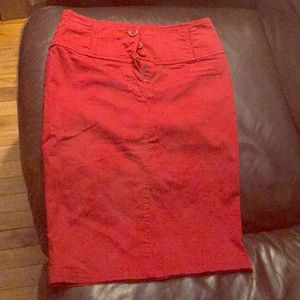 Red mid length skirt